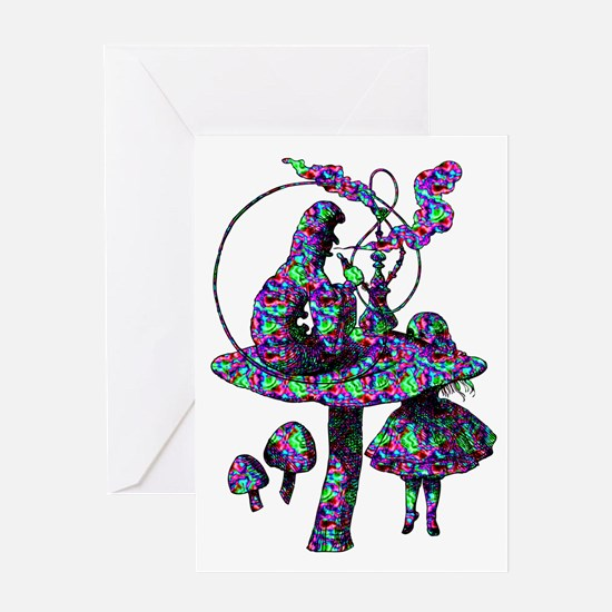 Alice and Caterpillar Psychad Greeting Card