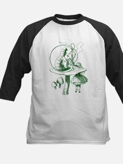 Alice and Caterpillar Green Kids Baseball Jersey