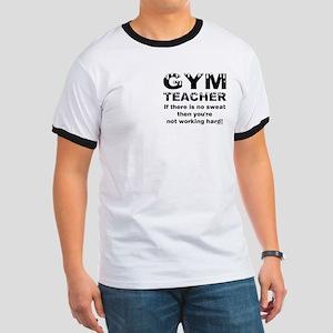 Sweaty Gym Teacher Pocket Image Ringer T