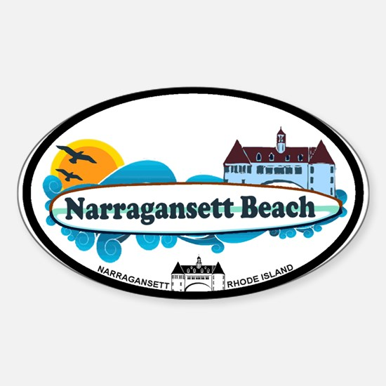 Narragansett RI - Surf Design Sticker (Oval)