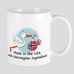Stork Baby Norway USA Mug