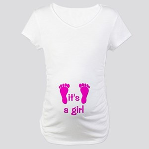 Pink Baby Footprints Maternity T-Shirt