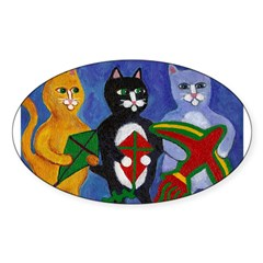 Cats with Kites Sticker (Oval)