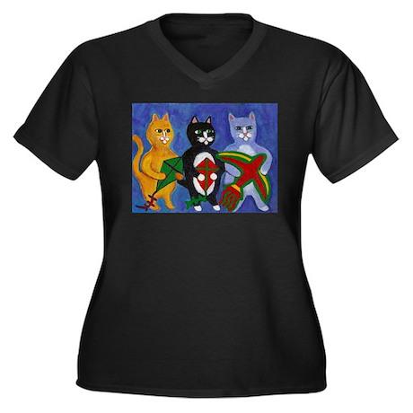 Cats with Kites Women's Plus Size V-Neck Dark T-Sh