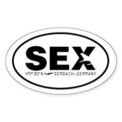 Sembach Airport Code Sex Oval Sticker Black Des.