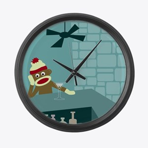 Sock Monkey Martini Large Wall Clock