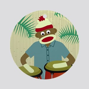 Sock Monkey Congas Ornament (Round)