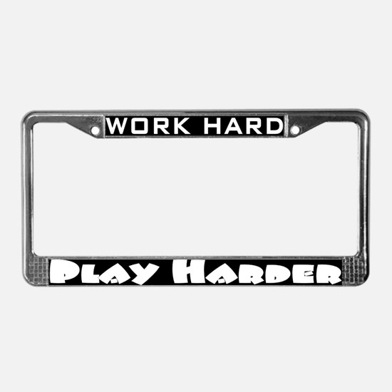 Cute Running in the usa work hard play harder License Plate Frame