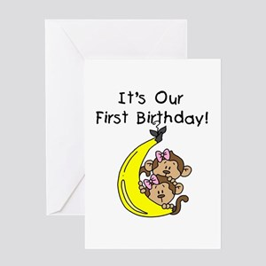 Twins first birthday greeting cards cafepress twin girls 1st birthday greeting card m4hsunfo
