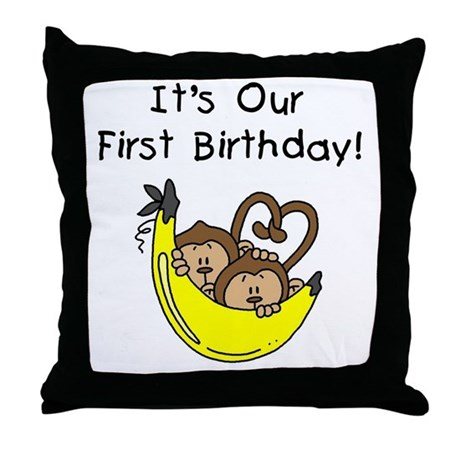 Twin Boys 1st Birthday Throw Pillow
