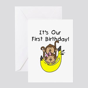 Twins first birthday greeting cards cafepress twin boy and girl 1st birthday greeting card m4hsunfo