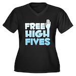 Free High Fives Women's Plus Size V-Neck Dark T-Sh