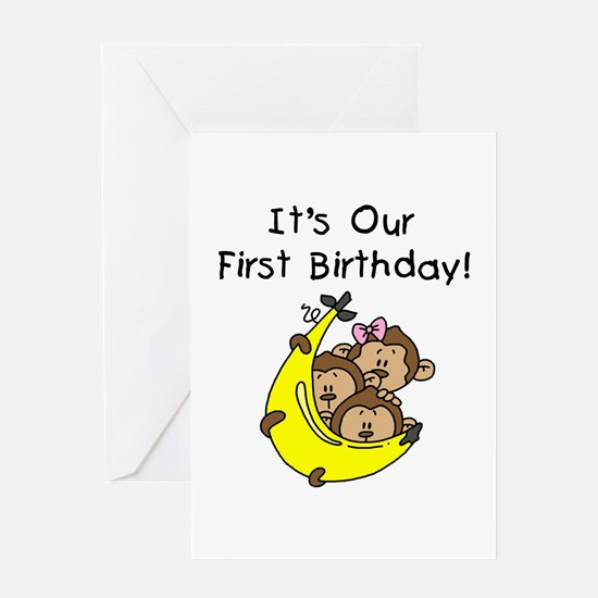 Triplets 1st Birthday Greeting Card