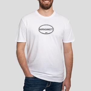 Narragansett RI Oval Design Fitted T-Shirt