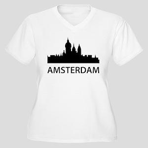Amsterdam Skyline Women's Plus Size V-Neck T-Shirt