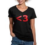 Less than 3 Women's V-Neck Dark T-Shirt