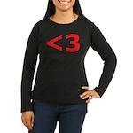 Less than 3 Women's Long Sleeve Dark T-Shirt