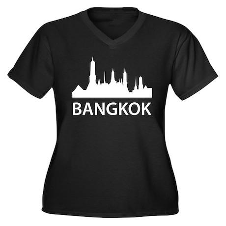 Bangkok Skyline Women's Plus Size V-Neck Dark T-Sh