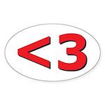 Less than 3 Sticker (Oval 10 pk)