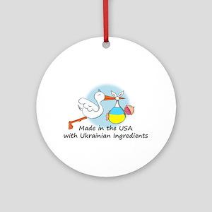 Stork Baby Ukraine USA Ornament (Round)