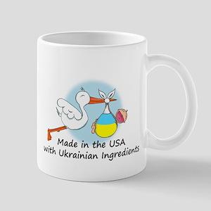 Stork Baby Ukraine USA Mug