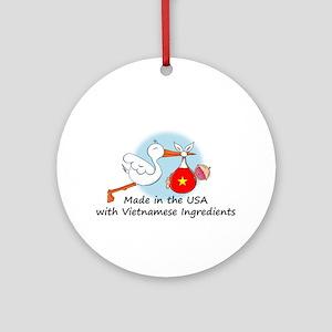 Stork Baby Vietnam USA Ornament (Round)