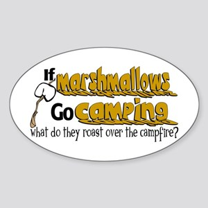Marshmallows go Camping Sticker (Oval)