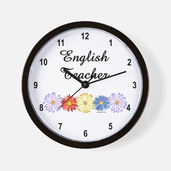 English Teacher Flowers Wall Clock