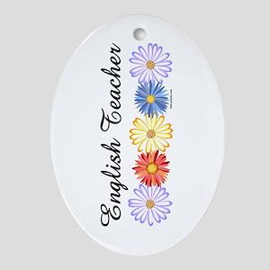 English Teacher Flowers Ornament (Oval)