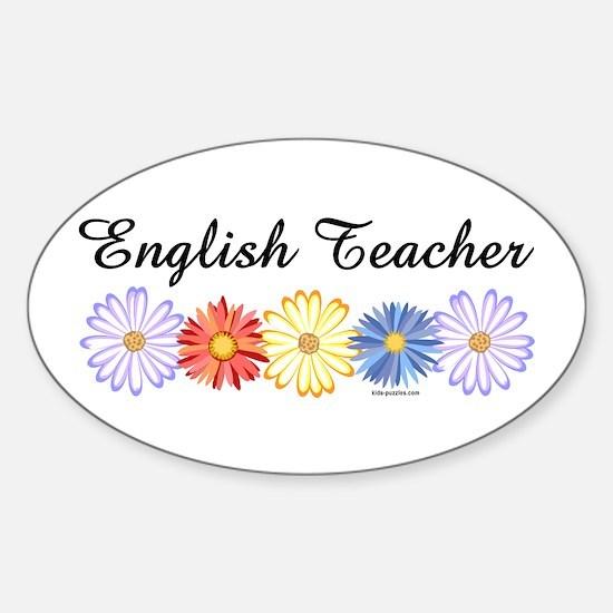 English Teacher Flowers Sticker (Oval)