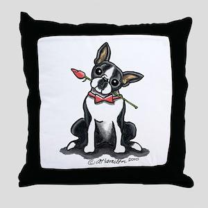 Boston Terrier Sweetheart Throw Pillow