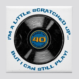 Scratched Record 40th Birthday Tile Coaster