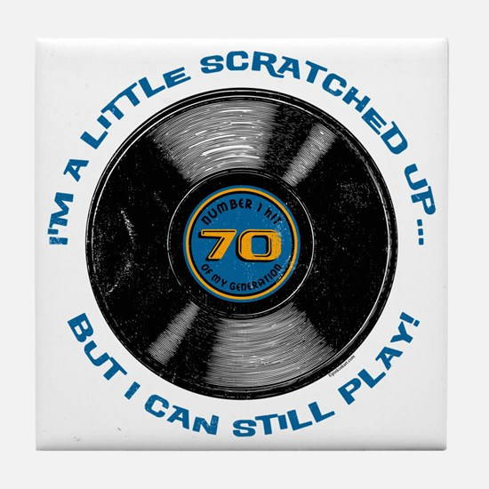Scratched Record 70th Birthday Tile Coaster