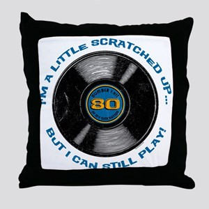 Scratched Record 80th Birthday Throw Pillow