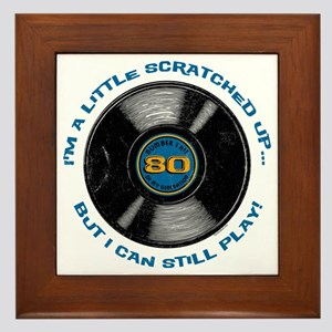 Scratched Record 80th Birthday Framed Tile