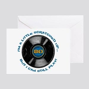 Scratched Record 80th Birthday Greeting Card