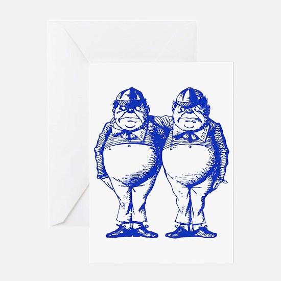 Tweedle Twins Blue Greeting Card