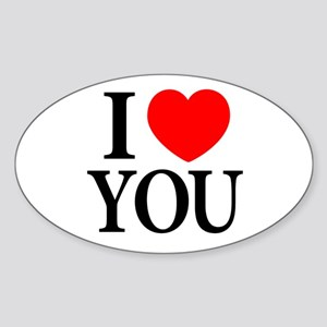I Love You Oval Sticker