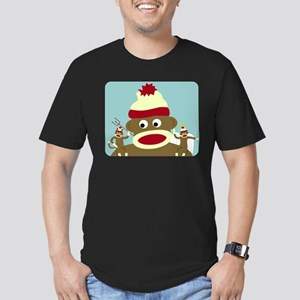 Sock Monkey Angel Devil Men's Fitted Dark T-Shirt