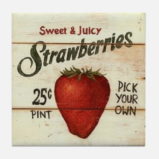 Pick Your Own Strawberries Tile Coaster