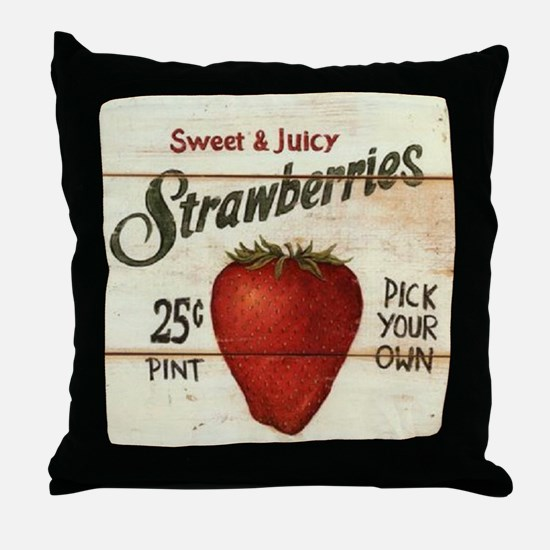Pick Your Own Strawberries Throw Pillow