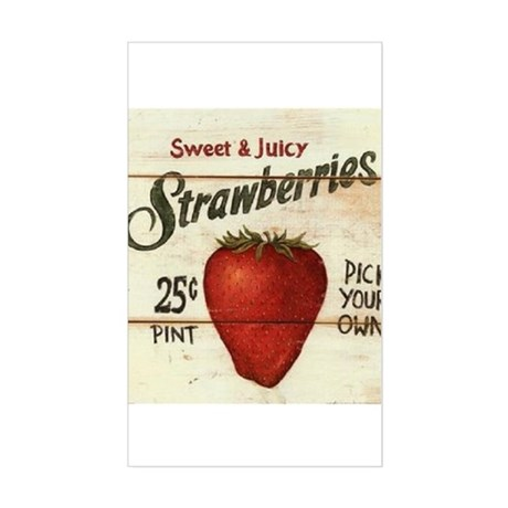 Pick Your Own Strawberries Sticker (Rectangle)