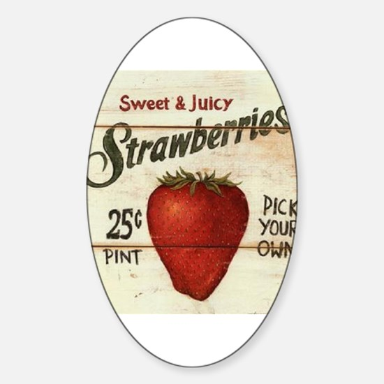 Pick Your Own Strawberries Sticker (Oval)