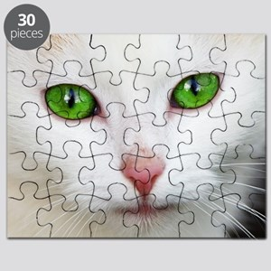 White Cat Green Eyes Puzzle