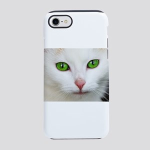 White Cat Green Eyes iPhone 7 Tough Case
