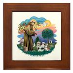 St Francis #2/ Shih Tzus (4) Framed Tile