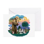 St Francis #2/ Shih Tzus (4) Greeting Cards (Pk of