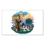 St Francis #2/ Shih Tzus (4) Sticker (Rectangle)