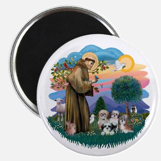 "St Francis #2/ Shih Tzus (4) 2.25"" Magnet (10 pack"