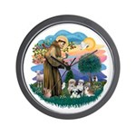 St Francis #2/ Shih Tzus (4) Wall Clock